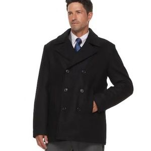CHAPS Black Double Breast Wool Pea Coat Jacket -L